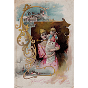 Mother Child Santa Claus Lion Coffee Christmas Trade Card