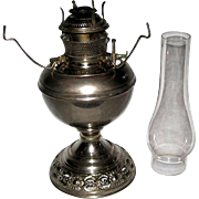 B & H 1890s Nickle Plated Oil Lamp