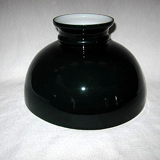 Old Green Cased Oil Lamp Shade