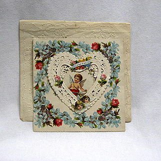 Large Old Valentine With  Embossed Envelope