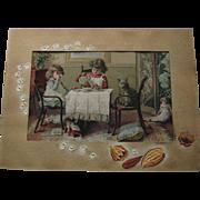 Tea Party 1889 Prang Chromolithograph Print - Girls, Dolls, Dog