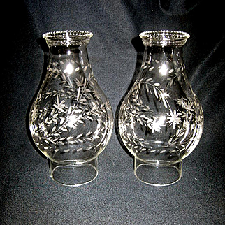 Pair No.2 Etched Oil Lamp Bulge Chimneys