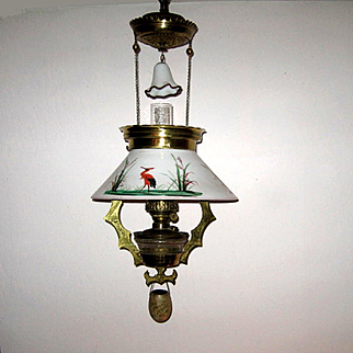 Victorian Hanging Oil Parlor Lamp With Storks
