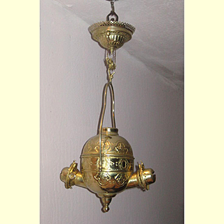 Double Angle Oil Lamp Frame With Pull Down Canopy