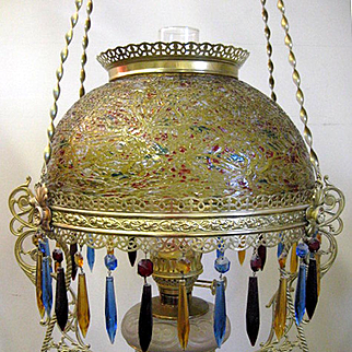 Victorian Hanging Parlor Lamp With Art Glass Shade