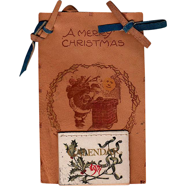 1907 Calendar Santa Claus Leather Postcard