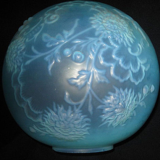 Blue Satin Glass Oil Lamp Ball Shade
