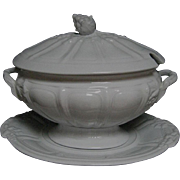 Early Three Piece White Ironstone Soup Tureen
