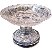 Early Flint Glass Lacy Pattern Compote