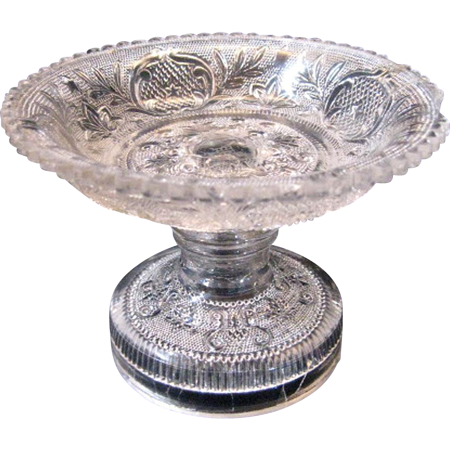 Early Flint Glass Lacy Pattern Compote From