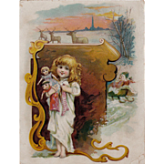 Girl With Dolls Christmas Trade Card Lion Coffee
