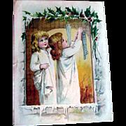 Christmas  Girls Hang Stockings Lion Coffee Trade Card
