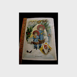 Christmas Girls & Santa Trade Card Poster - Union Pacific Tea Co.