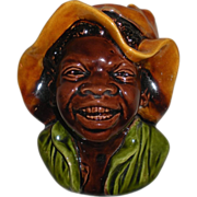 Black Boy Wall Pocket Majolica Bretby