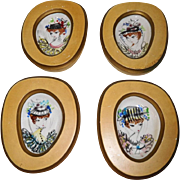 Framed mid century Italian Porcelain Plaques Hand Painted Fashion Ladies