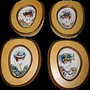 Mid century Italian Porcelain Plaques Painted Fashion Ladies