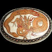 Satsuma Brooch Pin Dragon 19th c.