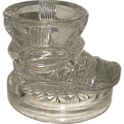 Glass Boot Inkwell, Match, Toothpick 1887