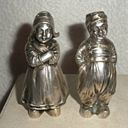 Figural Silver Salt and pepper Boy and Girl German 19th C.
