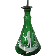 Barber Bottle Mary Gregory Green 19th c.