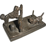 Figural Thimble and Spool Stand Cat and Dog Victorian