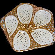 Antique Oyster Plate Japanese Kutani