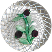 St. Louis Paperweight 1954 Cherries on Latticino