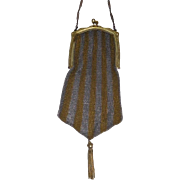 Sunset Mesh Purse Striped c, 1920 Marked Lustern