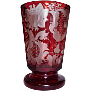 Bohemian Beaker Engraved Glass Ruby to Clear