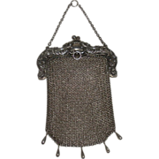 Sterling Silver Mesh Chainmail Purse Chatelaine loop