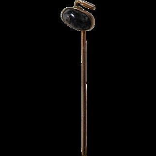 Gold figural stickpin Curling Stone
