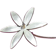 Norway Enamel Sterling pin White Flower