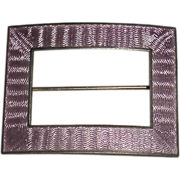Purple Enamel Sterling Pin Guilloche technique