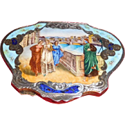 Enamel Compact or Box 800 S. Bridge in Florence Scene