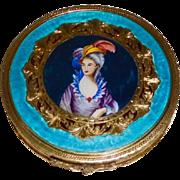 Enamel Silver Compact Portrait Woman in Large Hat