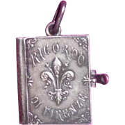 Miniature book Souvenir Florence Silver Plated Case