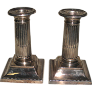 Mappin & Webb Silver Plate Candlesticks Architectural Columns