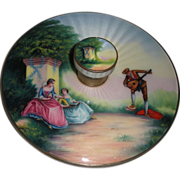 Scenic Enamel Guilloche Round Hand Mirror Fabulous quality