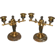 Bronze Dore' Figural candlesticks Woman with Birds 19th c.