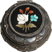 Pietra Dura Silver pill / patch box small size