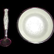 Enamel Sterling Salt Dip and Spoon Denmark