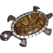 Turtle Pin Vintage Mexican Sterling and glass