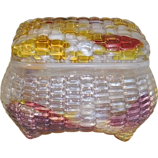 Art Glass Dresser Box Multi color, 19th c.  Baccarat?