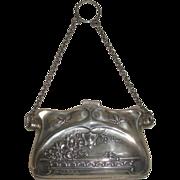 Art Nouveau Sterling silver chatelaine purse with Dragonflies Birm. 1913