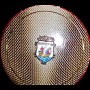 Enamel Brass Compact Snakeskin pattern Souvenir