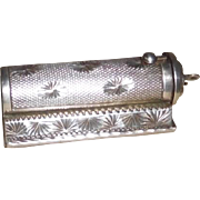 Silver Lipstick Compact with loop for wearing on chain