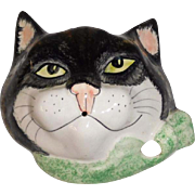 String and Scissors Holder Ceramic Cat Face