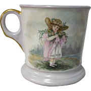 Shaving Mug Hand Painted Girl in Victorian Hat c. 1900