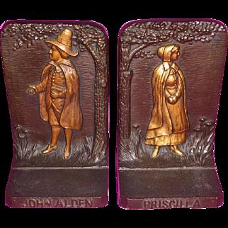 Bradley & Hubbard Bookends John Alden and Priscilla Figures