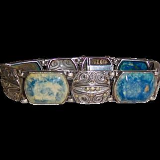 Lapis Marcasite Art Deco Bracelet, Great with denim